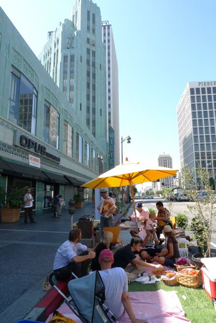 Ciclovia's Park(ing) Day Park in the shadow of the Wiltern (Photo by Aaron Paley)
